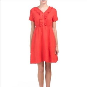 Terzo Millennio 100% Linen Ruffle Dress M